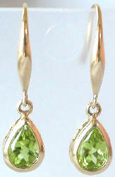 Pear Peridot Dangle Gemstone Earrings in 14k Yellow Gold