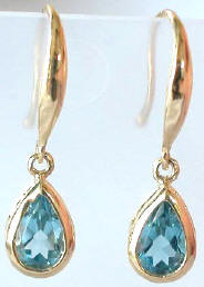 Pear Blue Topaz Dangle Gemstone Earrings in 14k White Gold