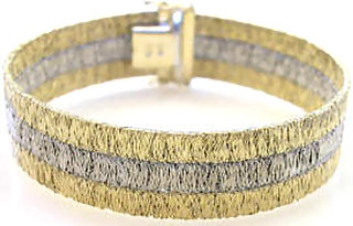Italian 3-Row Hammered Wire Gold Bracelet in 14k white and yellow gold