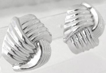 Bold Knotted Earrings in 14k white gold