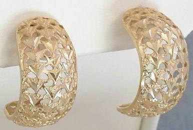 Diamond Cut Half Hoop Earrings In 14k Yellow Gold