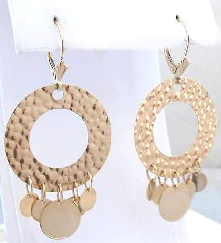 Hammered Circle and Disc Drop Earrings in 14k yellow gold