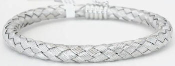 Elegant Woven 14k White Gold Bangle Bracelet