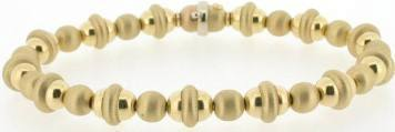 Satin Finish & High Polish Bead Bracelet in 14k yellow gold