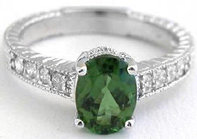 Oval Green Tourmaline Engagement Rings