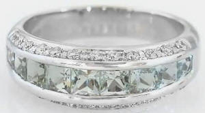 Channel Set Princess Cut Green Quartz and Diamond Ring in 14k white gold for sale