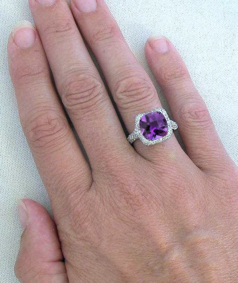 cz ring three stone steel engagement amethyst rings simulated stainless center