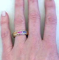 Round and Princess Cut Rainbow Sapphire Rings
