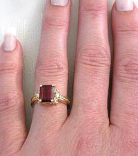 Rhodolite Garnet Diamond Engagement Rings