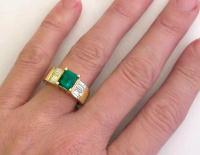 Large Natural Emerald and Baguette Diamond Ring in 14k yellow gold