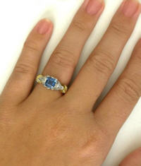 Square Cut Sapphire and Trillion Diamond Ring in Platinum and 18k