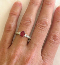 Natural Burmese Ruby and Oval Diamond Ring in 14k white gold