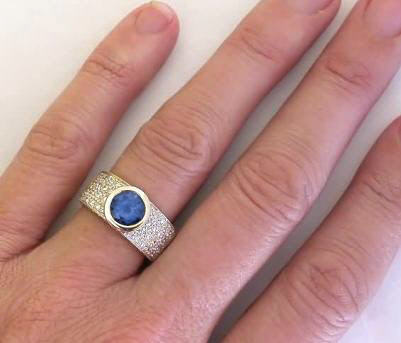 Bezel Set Round Blue Sapphire And Pave Diamond Ring In 18k