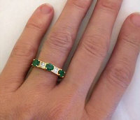 Genuine Three Stone Emerald and Baguette Diamond Ring in 18k yellow gold