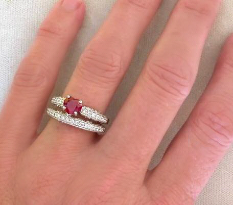 heart cut ruby engagement ring with diamonds in white gold - Ruby Wedding Ring Sets