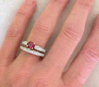Heart Cut Ruby Engagement Ring with Diamonds in white gold