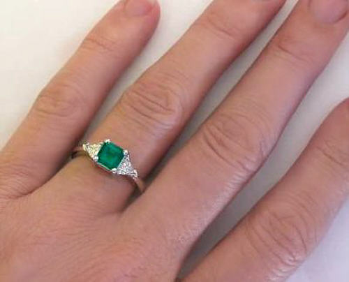 Past Present Future Emerald Ring with Trillion Diamonds GR5537