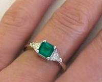 Classic Natural Colombian Emerald and Trillion Diamond Ring in 14k white gold