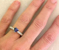 Blue Sapphire Heart and Diamond Engagement Ring in 14k gold