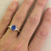 Sapphire and Trillion Diamond Rings in 14k gold