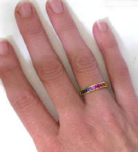 Channel Set Round Rainbow Sapphire Ring