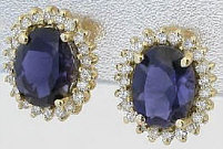 3.6 ctw Iolite and Diamond Earrings in 14k yellow gold