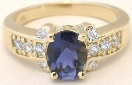 Iolite Rings in Yellow Gold