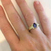 Oval Iolite Ring in 14k Yellow Gold