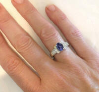 Iolite and Diamond Engagement Rings in White Gold