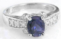 Oval Iolite Rings in White Gold
