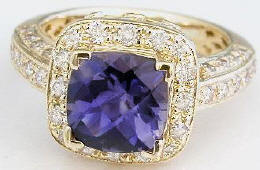 Cushion Cut Iolite Rings