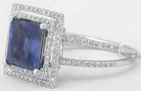8mm princess cut iolite engagement rings