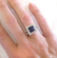 diamond rings with princess cut iolite
