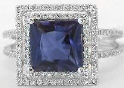 Princess Iolite Rings in White Gold