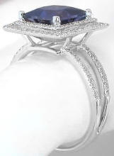 princess cut iolite and diamond engagement ring in 14k