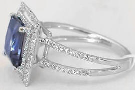 princess cut iolite engagement ring in 14k