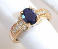 Iolite and Diamond Rings in 14k Yellow Gold