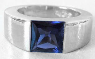 Princess Cut Iolite Tank Ring in 14k White Gold