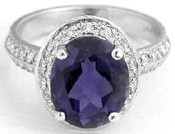 oval iolite engagement rings