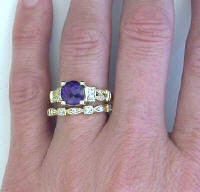 Amethyst Engagement Ring and Diamond Wedding Band