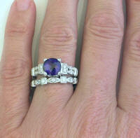 Round Amethyt and Diamond Engagement Ring and Wedding Band in 14k