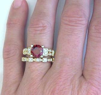 garnet engagement rings with straight diamond wedding band - Garnet Wedding Rings