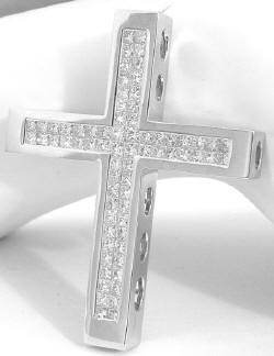 Exceptional 5.6 ctw Invisible Set Princess Cut Diamond Cross in 14k