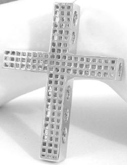 Back View Gallery of Invisible Set Princess Cut Diamond Cross in 14k