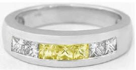 Men's Princess Cut Yellow and White Sapphire Ring in 14k white gold