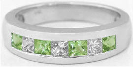 Men's Princess Cut Peridot and White Sapphire Wedding Band