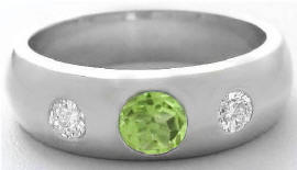 Men's Round Cut Peridot and White Sapphire Wedding Ring in 14k