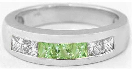 Mens Princess Cut Peridot and Princess Cut Diamond Wedding Band in