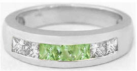 Men's Princess Cut Peridot and White Sapphire Wedding Ring in 14k