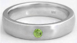 Men's Peridot Wedding Band in 14k gold (6mm band)